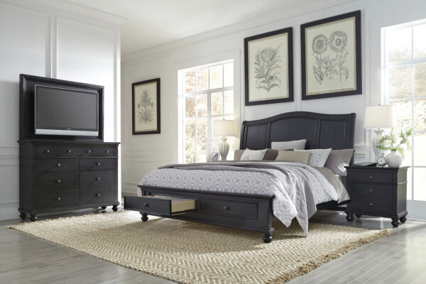 Oxford Rubbed Black Bedroom Collection
